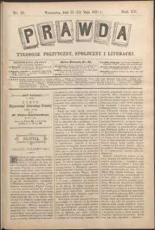 Prawda : tygodnik polityczny, społeczny i literacki, 1895, R. 15, nr 21