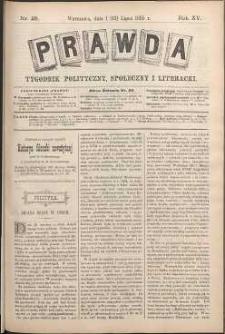 Prawda : tygodnik polityczny, społeczny i literacki, 1895, R. 15, nr 28