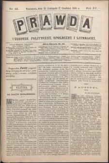Prawda : tygodnik polityczny, społeczny i literacki, 1895, R. 15, nr 49