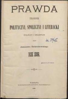 Prawda : tygodnik polityczny, społeczny i literacki, 1896, R. 16, spis rzeczy