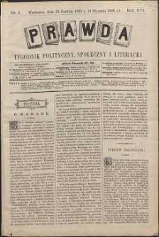 Prawda : tygodnik polityczny, społeczny i literacki, 1896, R. 16, nr 1