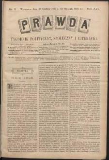 Prawda : tygodnik polityczny, społeczny i literacki, 1896, R. 16, nr 2