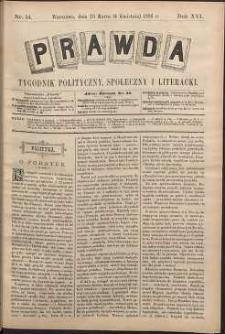 Prawda : tygodnik polityczny, społeczny i literacki, 1896, R. 16, nr 14