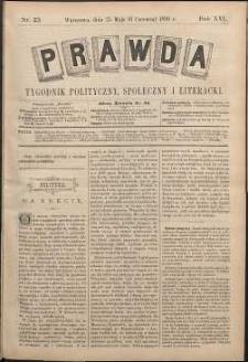 Prawda : tygodnik polityczny, społeczny i literacki, 1896, R. 16, nr 23