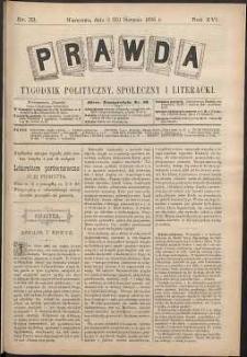 Prawda : tygodnik polityczny, społeczny i literacki, 1896, R. 16, nr 33