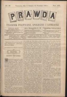 Prawda : tygodnik polityczny, społeczny i literacki, 1896, R. 16, nr 37
