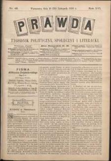 Prawda : tygodnik polityczny, społeczny i literacki, 1896, R. 16, nr 48
