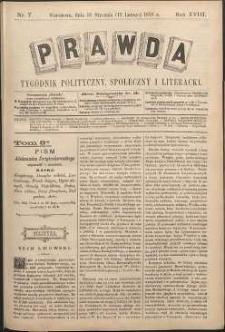 Prawda : tygodnik polityczny, społeczny i literacki, 1898, R. 18, nr 7