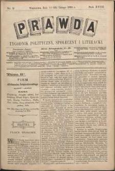 Prawda : tygodnik polityczny, społeczny i literacki, 1898, R. 18, nr 9