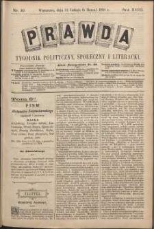 Prawda : tygodnik polityczny, społeczny i literacki, 1898, R. 18, nr 10