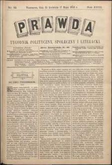Prawda : tygodnik polityczny, społeczny i literacki, 1898, R. 18, nr 19