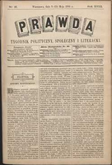 Prawda : tygodnik polityczny, społeczny i literacki, 1898, R. 18, nr 21