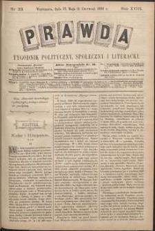Prawda : tygodnik polityczny, społeczny i literacki, 1898, R. 18, nr 23