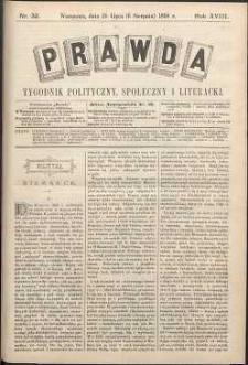Prawda : tygodnik polityczny, społeczny i literacki, 1898, R. 18, nr 32