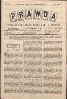 Prawda : tygodnik polityczny, społeczny i literacki, 1898, R. 18, nr 43