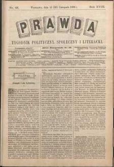 Prawda : tygodnik polityczny, społeczny i literacki, 1898, R. 18, nr 48