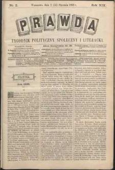 Prawda : tygodnik polityczny, społeczny i literacki, 1899, R. 19, nr 2
