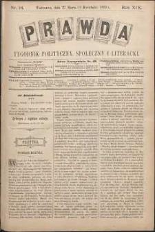 Prawda : tygodnik polityczny, społeczny i literacki, 1899, R. 19, nr 14