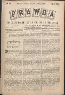 Prawda : tygodnik polityczny, społeczny i literacki, 1899, R. 19, nr 18