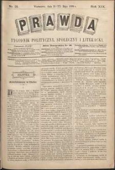 Prawda : tygodnik polityczny, społeczny i literacki, 1899, R. 19, nr 21