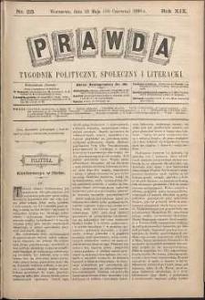 Prawda : tygodnik polityczny, społeczny i literacki, 1899, R. 19, nr 23