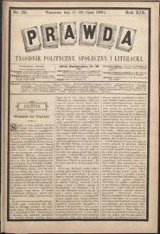 Prawda : tygodnik polityczny, społeczny i literacki, 1899, R. 19, nr 29