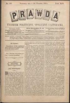 Prawda : tygodnik polityczny, społeczny i literacki, 1899, R. 19, nr 37