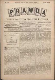 Prawda : tygodnik polityczny, społeczny i literacki, 1899, R. 19, nr 38