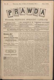 Prawda : tygodnik polityczny, społeczny i literacki, 1897, R. 17, nr 14