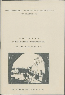 Notatki o kulturze żydowskiej w Radomiu
