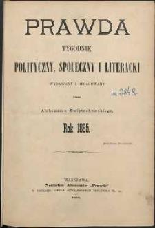 Prawda : tygodnik polityczny, społeczny i literacki, 1885, R. 5, spis rzeczy