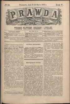 Prawda : tygodnik polityczny, społeczny i literacki, 1885, R. 5, nr 12