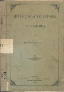 Słowo o stosunku Kochanowskiego do Ronsarda