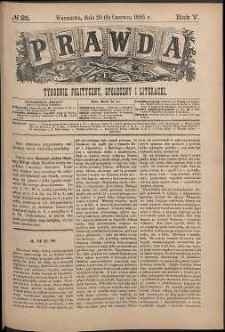 Prawda : tygodnik polityczny, społeczny i literacki, 1885, R. 5, nr 25