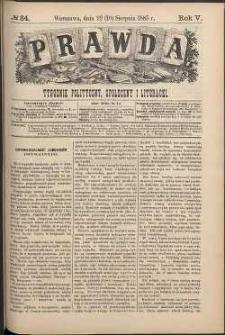 Prawda : tygodnik polityczny, społeczny i literacki, 1885, R. 5, nr 34