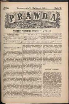 Prawda : tygodnik polityczny, społeczny i literacki, 1885, R. 5, nr 35