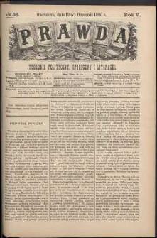 Prawda : tygodnik polityczny, społeczny i literacki, 1885, R. 5, nr 38