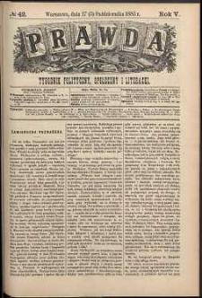 Prawda : tygodnik polityczny, społeczny i literacki, 1885, R. 5, nr 42