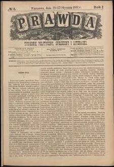 Prawda : tygodnik polityczny, społeczny i literacki, 1881, R. 1, nr 5