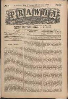 Prawda : tygodnik polityczny, społeczny i literacki, 1881, R. 1, nr 7