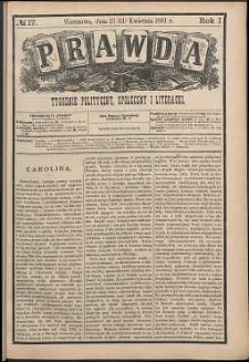 Prawda : tygodnik polityczny, społeczny i literacki, 1881, R. 1, nr 17