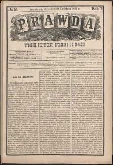 Prawda : tygodnik polityczny, społeczny i literacki, 1881, R. 1, nr 18