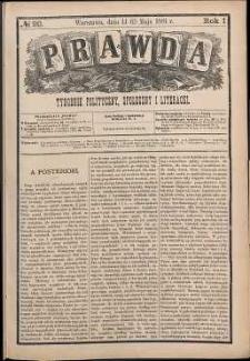 Prawda : tygodnik polityczny, społeczny i literacki, 1881, R. 1, nr 20