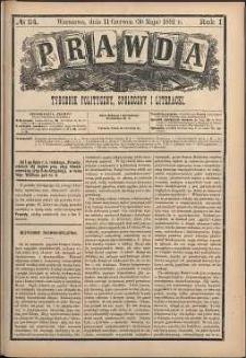 Prawda : tygodnik polityczny, społeczny i literacki, 1881, R. 1, nr 24