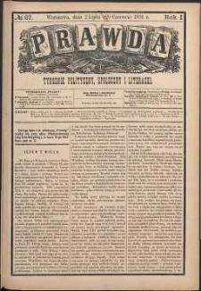 Prawda : tygodnik polityczny, społeczny i literacki, 1881, R. 1, nr 27