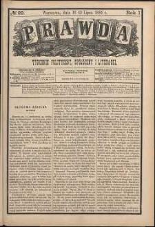 Prawda : tygodnik polityczny, społeczny i literacki, 1881, R. 1, nr 29