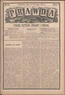 Prawda : tygodnik polityczny, społeczny i literacki, 1881, R. 1, nr 30