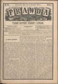 Prawda : tygodnik polityczny, społeczny i literacki, 1881, R. 1, nr 34