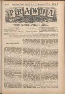 Prawda : tygodnik polityczny, społeczny i literacki, 1881, R. 1, nr 41