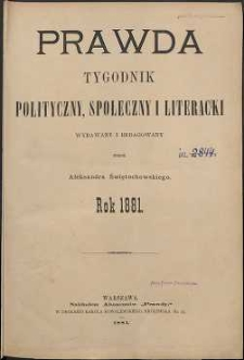 Prawda : tygodnik polityczny, społeczny i literacki, 1881, R. 1, spis rzeczy